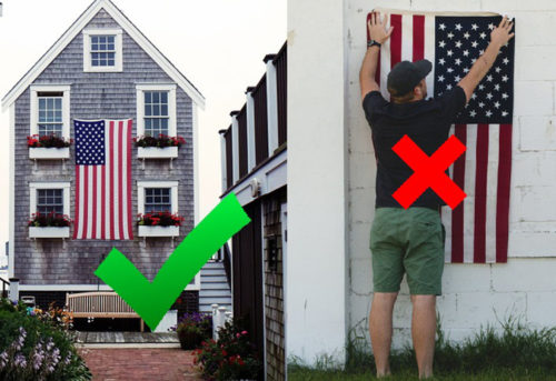 how to hang an american flag vertically