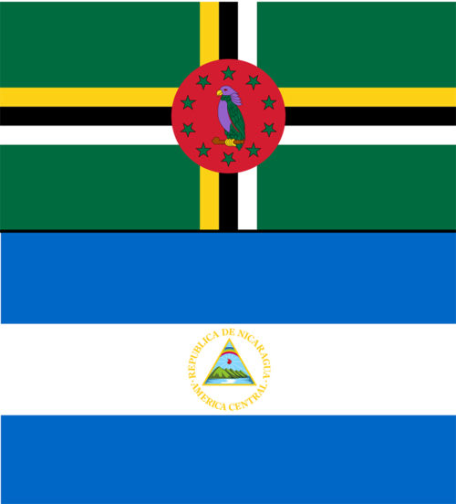 Dominica and nicaragua flags